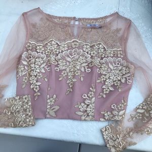 Light Pink Sheer Mesh Long sleeve crop top sz S